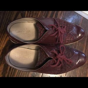 Cole haan burgundy red fur leather shoes wing tip